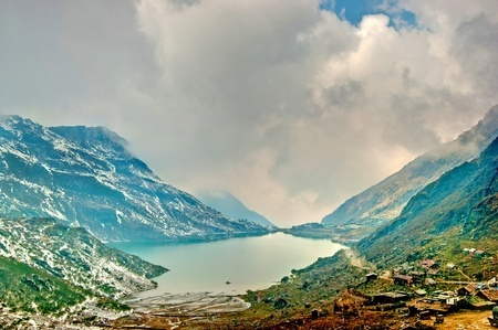 Beautiful high dynamic range image of Changu lake in Sikkim and the surrounding vista